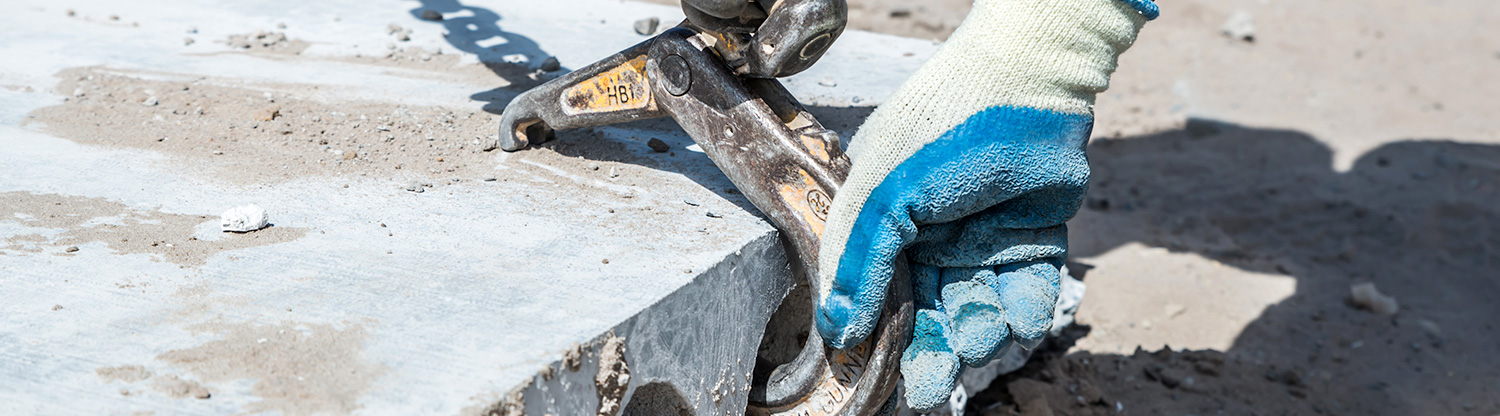 iron hook hooked in hollowcore slab